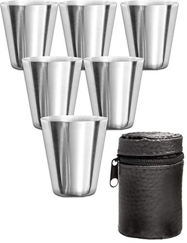 Outdoor Saxx® - 7-Teiliges Edelstahl-Becher Set, 6 unzerbrechliche Schnaps-Becher, Schnaps-Gläser aus Metall, Metall-Becher mit Leder-Tasche, ideales Flachmann-Zubehör, Tolle Geschenk-Idee!