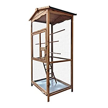 WilTec Volière d'Oiseaux en Bois Cage Oiseaux Cage d'Animaux Volière en Bois