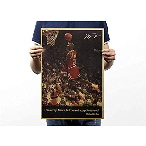 Poster-Retrò Nba Superstar Michael Jordan Kraft Paper 51X35Cm Adesivo Murale/Carta Da Parati/Poster/Silhouette Per La Decorazione Domestica