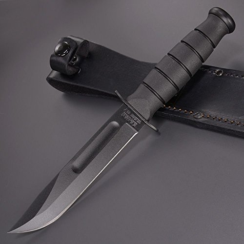 KA-BAR Straight Edge Knife with Leather Sheath, Black, Short