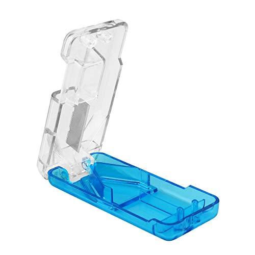 WELLGRO® Tablettenschneider mit Metallklinge - Kunststoff - blau/transparent - 8 x 3,8 x 1,7 cm (LxBxH) - Menge wählbar, Stückzahl:1 Stück