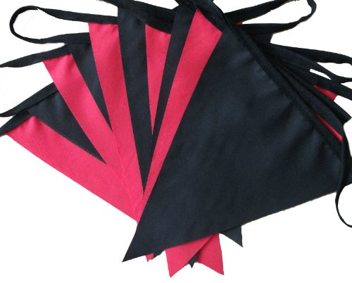 9mtrs / 30 flags plain red & black fabric bunting/banner/garland