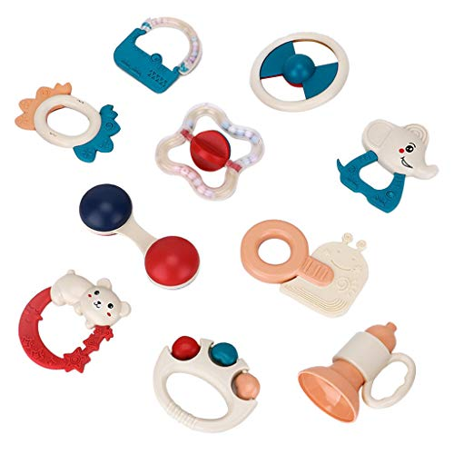 Amazing Deal Binory Rattle Teether Baby Toys with Storage Box, 10PCS Shaker Grab Shaking Bell and Sp...