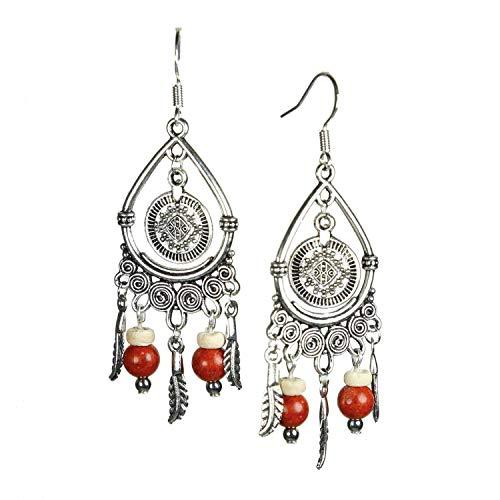 Naapi Coral (rojo) - Pendientes de Bohemia perlas plata de ley 925 (hecho en España)