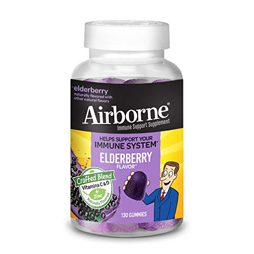 【34% OFF】 - Airborne Elderberry + Vitamins & ZINC Gummies (130 count in a bottle), Gluten-Free Immune Support Supplement With Vitamins D and E