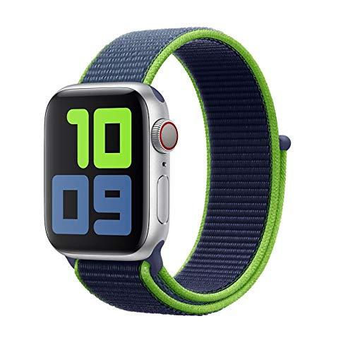 Pulseira para Apple Watch 42mm 44mm Nylon Loop para Watch Series 1, 2, 3, 4, 5 Neon Lime