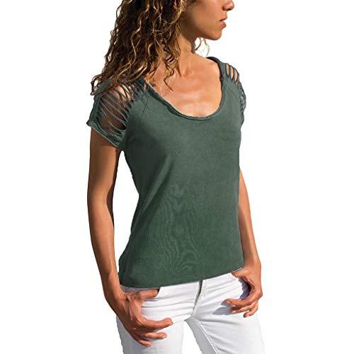 Camisetas Mujer Manga Corta SHOBDW Verano Playa Mar Blusa De Cuello Redondo Sexy Ahuecar Sólido Puro Ajustado Blusa De Hombro FríO Diario Azul Verde Tops para Mujer S-XL(Verde,XL)