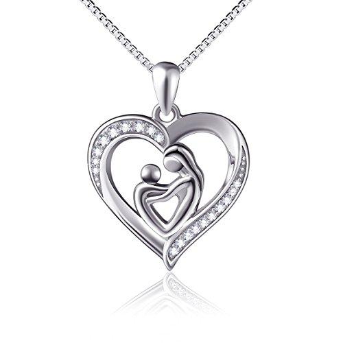 Mutter und Kind Lieben Herz Anhänger Halskette 925 Sterling Silber mit Zarten Zirkonia 18