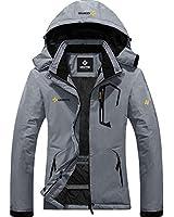 GEMYSE Women's Mountain Waterproof Ski Snow Jacket Winter Windproof Rain Jacket (Mid Grey,X-Large)
