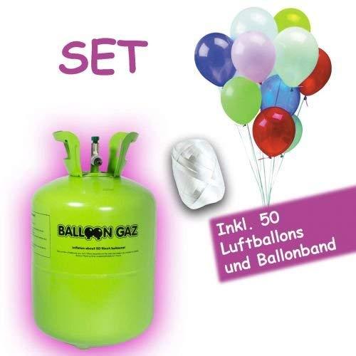 Balloon Gaz Party Helium für Luftballons - Ballongas - XXL für bis zu 50 Ballons - Heliumbehälter inklusive 50 Latexballons und Ballonband zum einfachen befüllen
