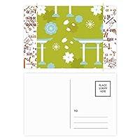 キュートブルーグリーンホワイト日本 公式ポストカードセットサンクスカード郵送側20個