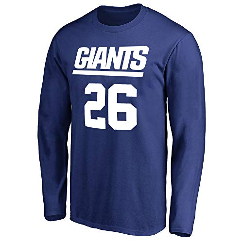 NFL Youth Team Color Mainliner Player Name and Number Long Sleeve Jersey T-Shirt (X-Large 18/20, Saquon Barkley New York Giants Blue)