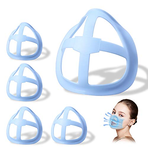 Price comparison product image 3D Face Inner Bracket for Comfortable Breathing,  Inner Support Frame / Under Frame Lipstick Protector Keep Fabric off Mouth to Create More Breathing Space[Washable / Reusable / Light Blue, 5Pcs]