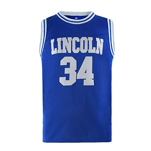 COMTOP Mens Lincoln #34 Jesus Shuttlesworth High School Movie Basketball Jersey for Adult Blue L