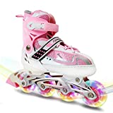 MammyGol Adjustable Inline Skates for Kids,Roller Skates with Featuring All Illuminating Wheels