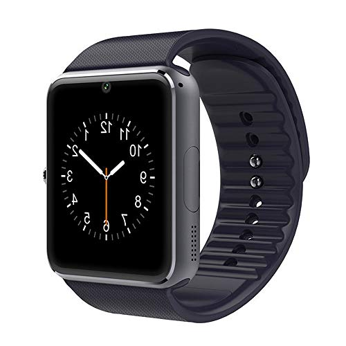 GT08 Smart Watches,Bluetooth Smart Watch Anti-Lost Touch Screen with Camera,Cell Phone Watch with Sim Card Slot,Smart Wrist Watch Compatible with Android Phones iOS for Kids Men Women (Black)