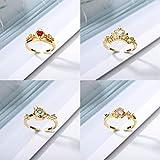 WJZB Dream Princess Ring Series Crown Anillos de Flores Ajustables Joyas de Compromiso para Mujeres Corazón Rojo Gemas Bijoux Regalos de Amor de Boda