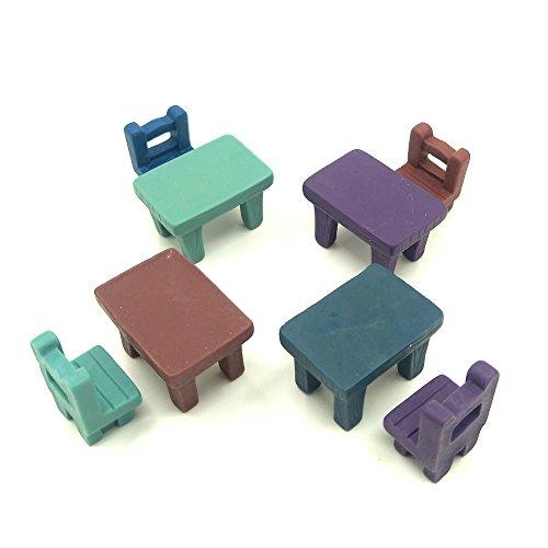 EMiEN 8 Pieces Tables Chairs Miniature Ornament Kits Set for DIY Fairy Garden Dollhouse Decoration, 4 Desks,4 Chairs