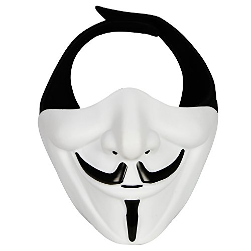 XYLUCKY Samurai Airsoft Mask, Tactical Half Face Motorcycle Evil Demon Knight Kabuki Mask para Halloween Cosplay Disfraz Caza Disparos,Blanco