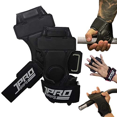JPRO Heavy Duty Weight Lifting Grips/Hook for Men/Women with Wrist Straps and Patented Finger Loop Tech Pro+ Handcrafted for The Ultimate Secure Non-Slip Grip - All in One Power Pad Grips/Gloves.