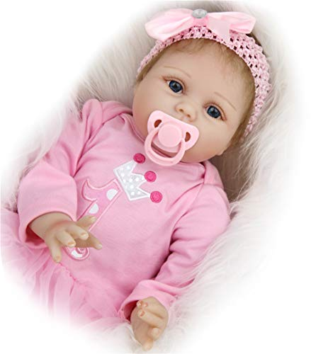 HXUEE Realistica 55 cm Bambola Reborn Bambina Bambole Reborn Femmina Bambolotti di Silicone Reborn Babys Dolls Ragazza Bambini Giocattoli 22 Pollice Regalo di Natale