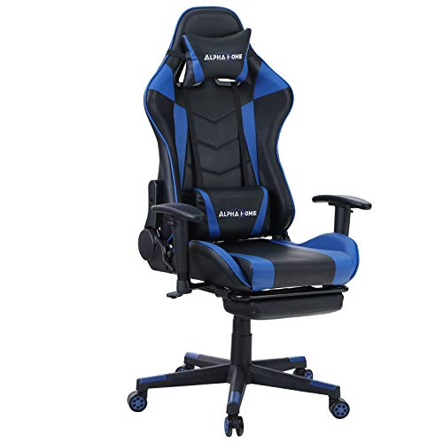 ALPHA HOME Gaming Chair Ergonomic Office Chair Racing Chair with Footrest Swivel Video Game Chair Computer Game Chair with Waist Vibration Massage and Lumbar Support PU Leather Desk Chair,Black&Blue