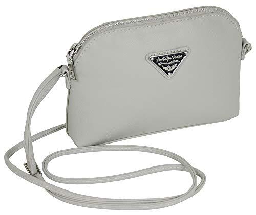 J JONES JENNIFER JONES kleine elegante Damen Handtasche Schultertasche für Frauen in 4 Farben (hellgrau)
