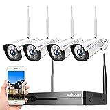 8CH 1296P Full HD Kit de Cámaras de Vigilancia WiFi Exterior,H.265 Sistema de Cámara Vigilancia con 4 Cámaras, visión Nocturna,IP66 Impermeable,Detección de Movimiento,Monitoreo Remoto,Plug & Play