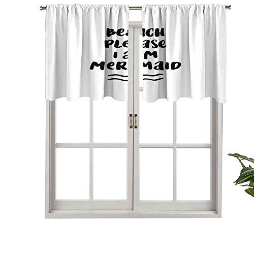 Hiiiman Cortinas cortas opacas con bolsillo para barra, estilo pop, playa, por favor el internet en bromas, juego de 2, 106,7 x 60,9 cm, cenefas pequeñas de media ventana para cocina