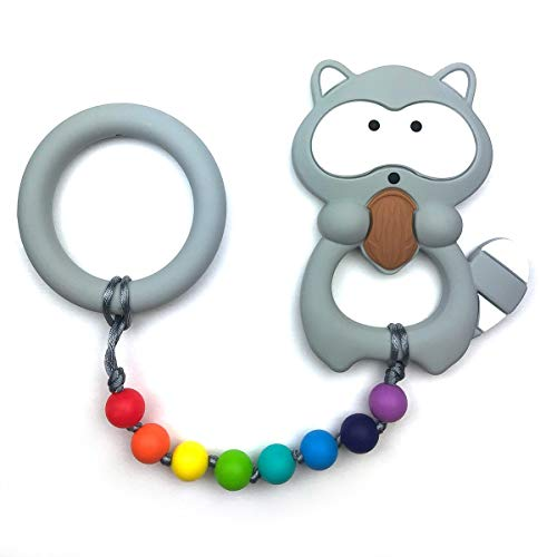 Baby Teething Toys by Nummy Beads Rainbow Raccoon with Ring Silicone Teether