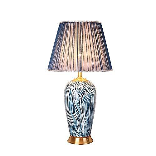 N\A ZGGYA Lámpara De Mesa Lámpara De Mesa Creativa De Estilo Mediterráneo Moderno Lámpara De Mesa De Cerámica De Patrón Azul, con Sombreado De Tela Tejida, para Lámpara De Dormitorio Lámpara