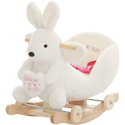 bh+ Kinderspielzeug Schaukelstuhl Kleines Schaukelpferd Musik Dual-Use-Holz Schaukelpferd aus Holz Auto Geburtstagsgeschenk (Farbe: Weiß)