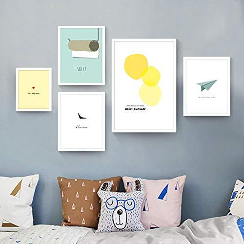 Nordic decoratieve canvas schilderij cartoon voor kinderen slaapkamer moderne en eenvoudige stijl posters papier vliegtuig, 40x60 40x80 40x100cm geen frame