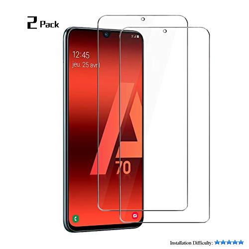 MOSIIKON- Protector Pantalla Samsung Galaxy A70, 9H Dureza - Alta Transparencia - 2.5D Bord, Cristal Templado Samsung Galaxy A70 Adsorcion automatica, Instalación más Sencilla