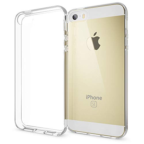 NALIA Funda Carcasa Compatible con iPhone SE 5 5S, Protectora Movil Silicona Ultra-Fina Gel Cubierta Estuche, Goma Bumper Smart-Phone Cover Cobertura Delgado Claro Case Cristal Clear - Transparente