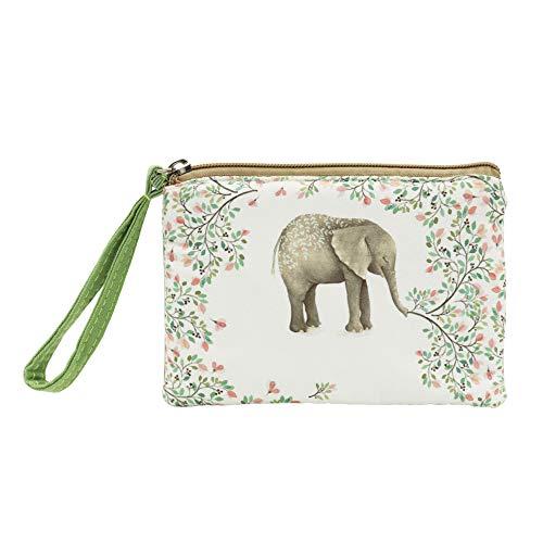 Kosmetiktasche mit Handschlaufe, Motiv: Elefant, Blumen- und Elefantenmotiv, Geschenk für Frauen