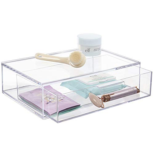"""STORi Audrey Stackable Cosmetic Organizer Drawer 12"""" Wide   Clear"""