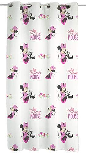 Disney Walt Minnie Voile Vorhänge, Polyester, Weiß, Rosa, 140 x 290 cm