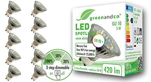 10x greenandco® CRI 90+ LED Spot ersetzt 50W GU10 in Stufen dimmbar ohne Dimmer 5W 420lm 3000K warmweiß 110° 230V, flimmerfrei, 2 Jahre Garantie