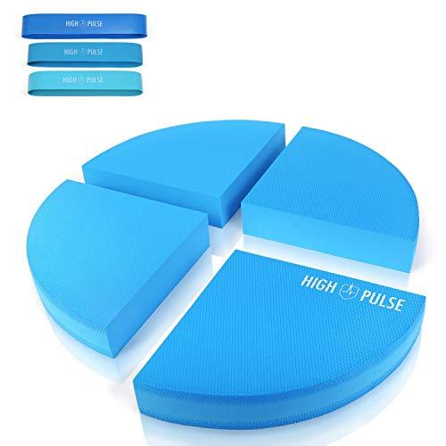 High Pulse® XXL Plataforma de coordinación, Incluye 3 bandas de fitness + póster – Cojín de equilibrio para una coordinación, estabilidad y equilibrio mejorados (azul, 4 piezas)