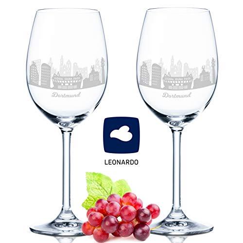 Leonardo Weinglas mit Gravur - Skyline Dortmund im Set - Geschenk für Anspruchsvolle & Weingenießer - Souvenir Andenken Stadt Mitbringsel - Geburtstagsgeschenk Weihnachtsgeschenk
