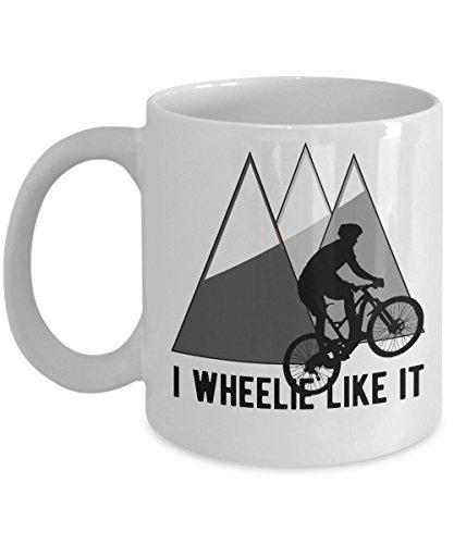 Cukudy mountainbike mok ik Wheelie als het grappige fietsen citaat fietsen koffie Cup