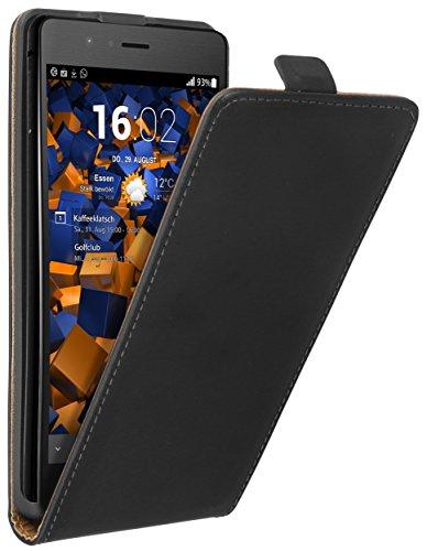 mumbi Echt Leder Flip Hülle kompatibel mit Huawei P9 Lite Hülle Leder Tasche Hülle Wallet, schwarz