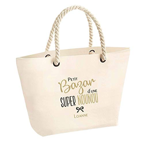 Cadeau nounou - Grand sac personnalisé en broderie avec prénom - idée cadeau nounou