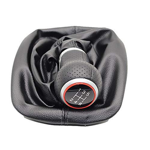 BUYBUYGO 5 Velocità 6 Velocità Per Audi A3 S3 2001 2002 2003 Pomello del cambio per auto Leva Maniglia del bastone Ghetta Custodia per bagagliaio Punto rosso (5 marce con cerchio rosso e linea nera)