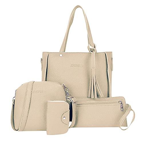 MGHH Juego de 4 bolsos de mano para mujer 2021, de piel sintética, con bandolera y tarjetero, color Beige, talla Medium