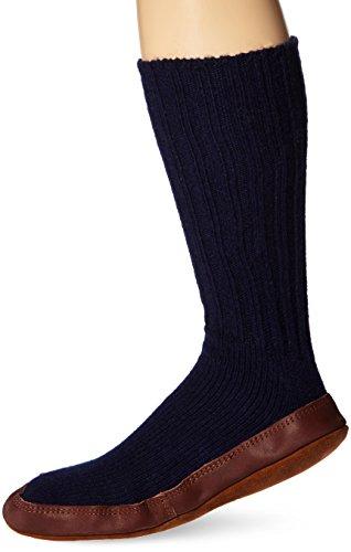 Acorn Unisex Original Slipper Sock, Flexible Cloud Cushion Footbed with a Suede Sole, Mid-Calf Length, Cobalt Ragg Wool, Medium Men