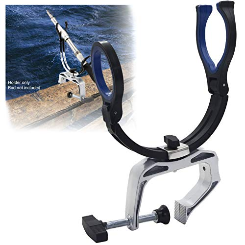 HTTMT- 360 Degree Rotating Adjustable Angle Direction Heavy Duty Fishing Pole Rod Holder with Universal Clamp-On Boat Deck Mount [P/N: ET-FISHING-RH10-BK+SR]