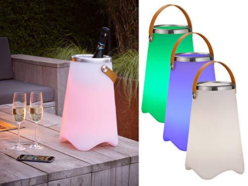 meineWunschleuchte 3in1 LED Leuchte CALLOON mit Bluetooth Lautsprecher und Fernbedienung – RGB Farbwechsel & Flaschenkühler mit praktischem Ledergriff, Höhe 38cm- für Indoor & Outdoor (IP44)