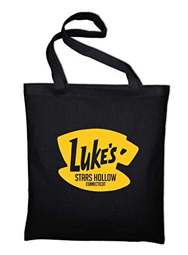 Styletex23 Luke's Stars Hollow Diner Cafe Logo Fan Jutebeutel Baumwolltasche, schwarz